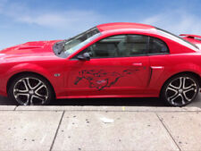 Ford Mustang Running Horse with Flames Decals - Set of Black vinyl stickers