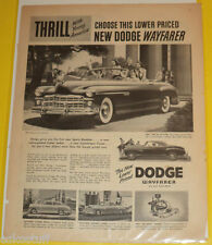 1949 Dodge Wayfarer Convertible B&W Car Ad Great Picture! Nice SEE!