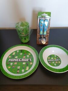 MINECRAFT CUTLERY SET BOWL PLATE CUP KIDS DINNER SPOON FORK NEW BPA FREE