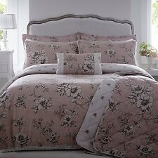 DOUBLE BED DUVET COVER SET VINTAGE ANTOINETTE ROSE LARGE FLORAL PRINT LACE