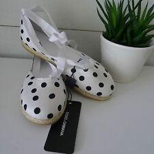 DOLCE & GABBANA Polka Dot WHITE ESPADRILLES Shoes 38 Ankle Tie LEATHER Ribbon !