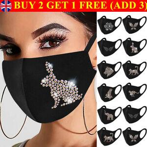 Animals Bling Crystal Reusable Face Mask Rhinestone Glitter Diamante Sparkle #