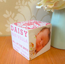 Hand Made Wooden Personalised Baby Newborn Photo Frame Cube Gift Present Gift