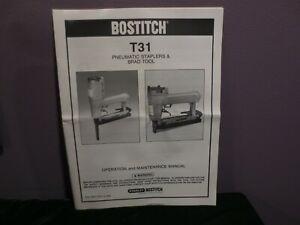 Stanley Bostitch 1989 Operators Manual Model T31 Pneumatic Stapler Brad Tool GUC