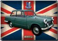 LARGE A3 SIZE TRIUMPH HERALD ENAMELLED METAL SIGN,BRITISH CLASSIC CARS.