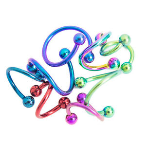 Twister Spiral Rings Randomly Colors And Sizes 16g Cartilage,Nipple,Nose,Lip 8pc