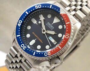 Seiko SKX009 Dark Blue Pepsi Day Date Automatic Divers Watch Jubilee 7S26-0020