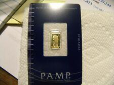 Pamp Suisse 1 gram gold bar 9999 in assay card.