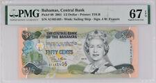 Bahamas 1/2 Dollars 2001 QEII P 68 Superb GEM UNC PMG 67 EPQ