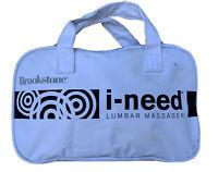 """Brookstone  """"I-NEED"""" LUMBAR Back Shiatsu Massage Pillow MASSAGER (w/Travel Bag)"""