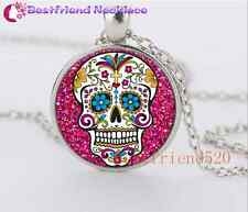 Silver sugar skull  Jewelry Necklace Glass Dome Pendant Necklace#YQ6