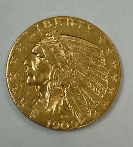 1909-D GOLD UNITED STATES $5 DOLLAR INDIAN HEAD HALF EAGLE COIN