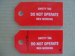 """Lot of 5 Safety Lockout Tagout Tags """"Do Not Operate Men Working"""" - Red"""