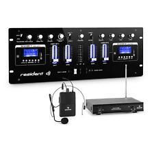 resident dj DJ405USB-BK Table mixage 4 canaux Set microphone sans fil + casque