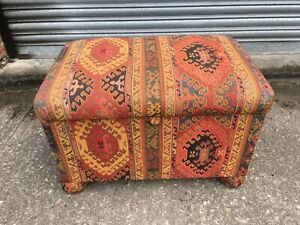 Multi Colored Ottoman On Bun Feet Asian Style Tapestry Fabric Covering