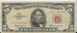 1963  RED SEAL $5 UNITED STATES NOTE