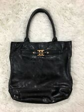 Tory Burch Soft Black Leather Tote Shoulder Bag Purse Gold Logo