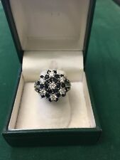 Vintage Antique 14k White Gold Diamond And Sapphire Ring Garland