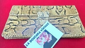 FRENCH 1960s WOMEN CLUTCH BAG~ LUXURIOUS PYTHON SNAKESKIN ~VINTAGE NEW/OLD STOCK