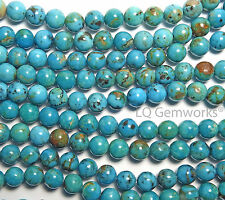 Blue Green KINGMAN TURQUOISE Round Beads-8mm-7.5in
