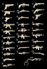 Military Miniature Gun/ Rifle Pewter Key Rings
