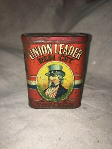 Vintage Union Leader Tobacco Tin Vintage Man Cave Display