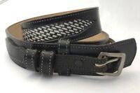 Vtg Ranger Western Belt Tooled Leather Cowhide Rodeo Black Silver Mens Womens 30