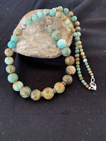 """Native American Green Graduated Turquoise Sterling Silver Bead Necklace 20"""" 327"""