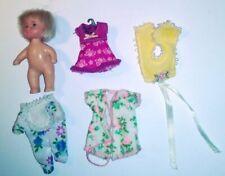 "Barbie Krissy Size Vintage 1982 MERITUS 3"" Doll + Tiny Clothes"
