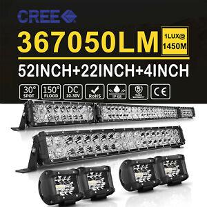 """Combo 52'' 1400W CREE LED Light Bar + 22'' + 4"""" For Jeep Wrangler JK YJ TJ CJ LJ"""