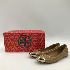 TORY BURCH Tan Brown Patent Leather Quilted Ballet Flats Size US 5M UK 3 37110