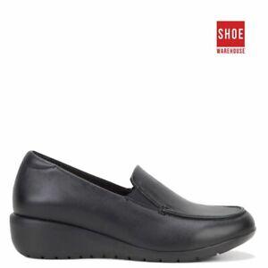 Hush Puppies DIAZ Black Womens Slip-on Classics Leather Shoes
