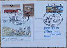 Bund aus 1992 PSO 26 mit Sonderstempel - 100 Jahre Hauptbahnhof! Stempel Koblenz