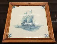 ANTIQUE DUTCH DELFT BLUE WHITE TILE SAILING BOAT PIRATE SHIP 18TH C. FRAMED
