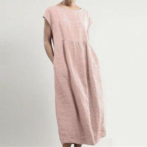 Women Linen Sleeveless O-neck Solid Maxi Dress Ladies Pocket Loose Long Dress