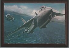"""4"""" X 6"""" Wooden Plaque with a Print of an F-14 Tomcat taking off from a carrier."""