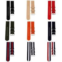 18 20 22mm Sports Military Woven Nylon Canvas Fabric Band Strap Steel Buckle