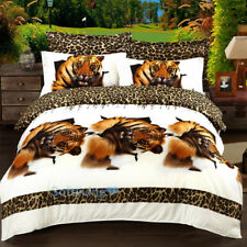 Brown King Tiger Queen Bed Quilt/Doona/Duvet Cover Set Pillow Cases Bedding