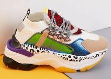 Damen Chunky Sneaker Plateau Turnschuhe Sportschuhe weiß/bunt Gr. 38 neu
