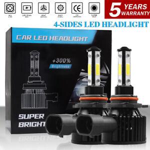 4-sides 9012 LED Headlight Bulbs Hi Low Beam Super Bright 6500K 6500W 855000LM