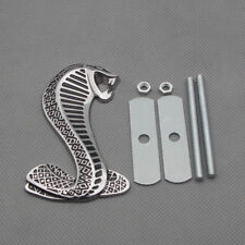 Chrome Metal Grille Emblem Cobra Snake Front Grill Badge Logo for Mustang Shelby