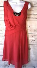 Karen Millen Dress Sz 6 Red Jeweled Beaded Silk Scoop Neck Sleeveless