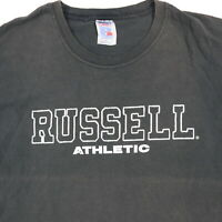 Vtg Sun Wash Faded Russell Athletic T-Shirt LARGE Black Spell Out Grunge 90s
