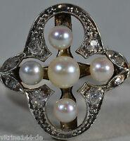 antiker RING mit 8 Brillanten + 5 Perlen 585er Gold WG + GG Fingerring Gr. 56
