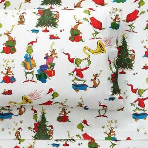 """BNWT Pottery Barn Kids """"Grinch and Max"""" Dr. Seuss Organic Flannel Sheet Set Twin"""