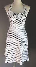 LUCKY 13 White & Black Polka Dot Halter Dress Size 12 - Retro PinUp Style