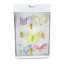 9 Stück Biene - Schmetterlinge MIX mit Clip, Sortiment bunt, Feder !!!