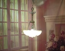 Antique Vintage Chandelier Art Deco Glass Shade Pink Pendant Light Rewired