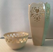 """New listing Lenox """"Cut Out Heart Design� 10� Vase & 5 1/2� Bowl Both Trimmed In Gold"""