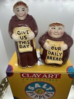 """1995 Clay Art Salt & Pepper Shakers""""Give  Us This Day"""""""
